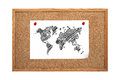 World map paper with clip to cork board Royalty Free Stock Photos