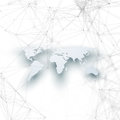 World map in perspective with shadow on white. Abstract global network connections, geometric design technology concept