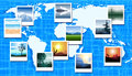 World map with photos of different geographic loca