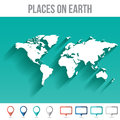 World Map with Pins, Flat Design Vector