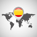 World map with pointer flag spain Royalty Free Stock Photo