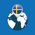 World map with pointer flag sweden Royalty Free Stock Photo