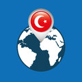 World map with pointer flag turkey