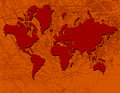 World map in red Stock Photos