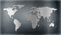 World map relief or shape on metal plate Royalty Free Stock Photo