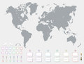 World map with set of blank colorful pointers and markers vector. Grey Political World Map Illustration.
