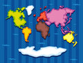 World map with seven continents Royalty Free Stock Photo