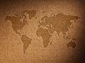 World map shows the corrugated cardboard Royalty Free Stock Photo