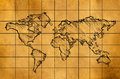 World Map Sketch on Old Paper Royalty Free Stock Photo