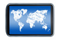 World map sky and clouds on a tablet Royalty Free Stock Photo