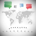 World map with stationery nails and dialog boxes note papers Royalty Free Stock Image