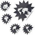 World map stickers Stock Photos