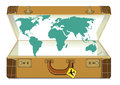 World map in suitcase illustration of open global travel concept Royalty Free Stock Photo