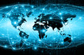 World map on a technological background, glowing lines symbols of the Internet, radio, television, mobile and satellite