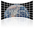 World map on tv screens (white background) Royalty Free Stock Photos