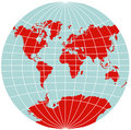 World Map - Van der Grinten Projection Royalty Free Stock Photos