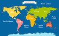 World map. Vector illustration with the inscription of the oceans and continents Royalty Free Stock Photo