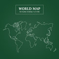 World Map White Outline Stroke on Green Background