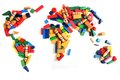 World map from wooden color bricks Royalty Free Stock Image