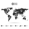 World map wooden design texture infographics vector illustration Royalty Free Stock Photo