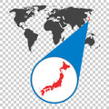 World map with zoom on Japan. Map in loupe. Vector illustration Royalty Free Stock Photo