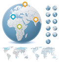 World maps and globes set of the political each country on the map can be colored separately Stock Images