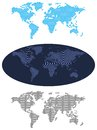 World maps illustration maps stylized collection of for infographics s set blue map terrestrial globe geometric drawings Stock Photography