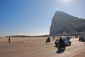 The world most interesting airport runway in gibraltar the rock with background against morning sun is also Royalty Free Stock Image