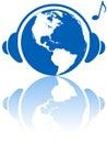 World music headphones on earth Royalty Free Stock Photo