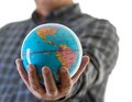 The world in my hands business man holding globe his Royalty Free Stock Photo
