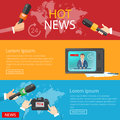 World news banners global online telecommunications tv radio Royalty Free Stock Photo