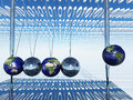 World newtons cradle with binary code Royalty Free Stock Photos