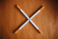 World No Tobacco Day : Cigarette put on brown table showing sign no smoking Royalty Free Stock Photo