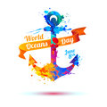 World Oceans Day. Anchor of splash paint