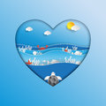 World oceans day concept design in heart shape.