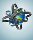 World planet circled by net of roads eps vector illustration Stock Photography