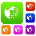 World planet and gears set color collection Royalty Free Stock Photo