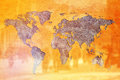 World population concept earth shaped crack in yellow wall and silhouettes of people Stock Image