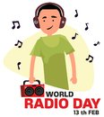 World radio day. The guy listens to the radio in headphones vector illustration