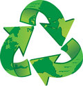 World recycle recycling symbol with the map on it eps Royalty Free Stock Photo