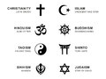 World religion symbols with English labeling