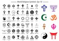 World religion symbols signs of major religious groups and other religions isolated. Royalty Free Stock Photo