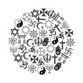 World religions symbols  set of icons in circle eps10 Royalty Free Stock Photo