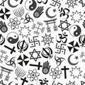 World religions symbols vector icons gray seamless pattern eps Stock Photos