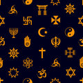 World religions symbols vector icons seamless pattern eps Stock Photography