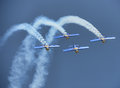 World renowned flying bulls also known as red bull aerbatic team performing asia s biggest air shiw aero india bangalore india Royalty Free Stock Photography