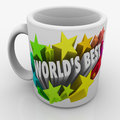World s best mug award prize top performing employee boss parent words and colorful d stars on a white ceramic given as a to the Stock Photography