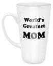 World s greatest mom on mug white coffee with text in black letters isolated white background Stock Photo