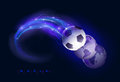 World soccer design concept ball in flames and lights against black background vector illustration Stock Photography