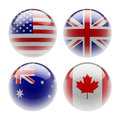 World sphere icon flags white background Stock Photography